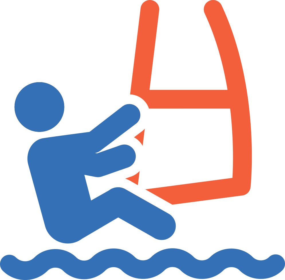 Icon einer Person, die windsurft