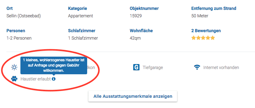 Screenshot Information in den Ausstattungsmerkmalen